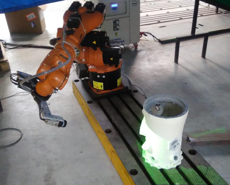3 डी स्कैनर रोबोट आर्म और स्कैनिंग ऑपरेशन प्रदर्शन