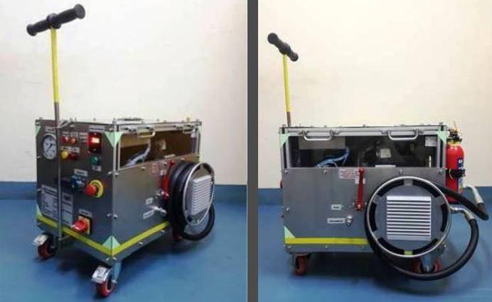 लड़ाकू विमान ब्रेक संचायक को चार्ज करने के लिए बैटरी संचालित हाइड्रोलिक पावर पैक